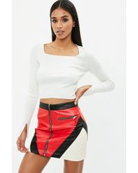Missguided - White Square Neck Ribbed Crop Top - Lyst