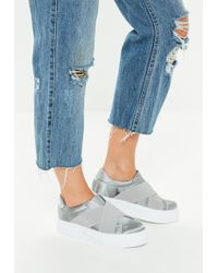 Missguided - Gray Cross Strap Elastic Flatform Sneakers - Lyst