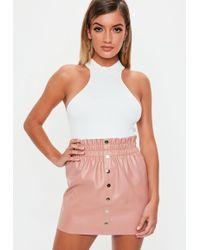 d5c1add0e8 Lyst - Missguided Lynda Box Pleat Mini Skirt In Nude in Natural