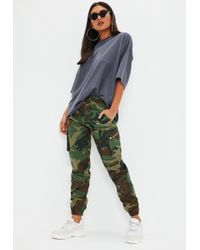 Missguided - Green Camo Printed Cargo Trousers - Lyst