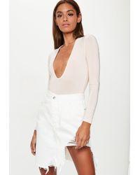 Missguided - Denim White Extreme Rip Hem Midi Skirt - Lyst