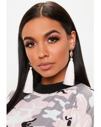 Missguided - Gold Look Coin Pink Tassel Earrings - Lyst
