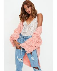 Missguided - Pink Bobble Sleeve Chunky Cardigan - Lyst