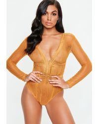 Missguided - Orange Long Sleeve Lace Plunge Bodysuit - Lyst