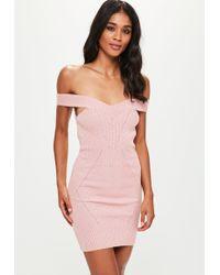 db04d15d3b Missguided - Pink Stitch Detail Bardot Knitted Mini Dress - Lyst