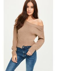 Missguided - Brown Deconstructed Crop Jumper - Lyst