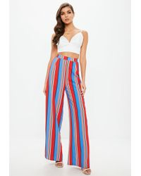 Missguided - Red Multi Coloured Striped Wide Leg Trousers - Lyst