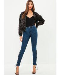 Missguided - Blue Anarchy Seamed Cross Lace Skinny Jeans - Lyst