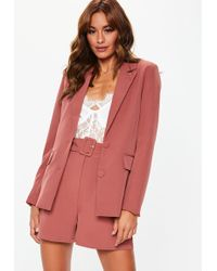 Missguided - Rose Pink Button Tailored Co Ord Blazer - Lyst