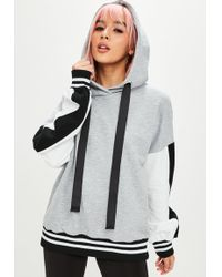 Missguided - Grey Colour Block Oversized Hoodie - Lyst