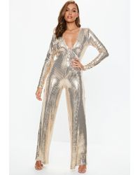 5d2b1f6d9b Lyst - Missguided Gold Floral Sequin Playsuit in Metallic