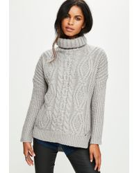 Missguided - Gray Knitted Oversized Sweater - Lyst