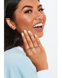 Missguided - Gold Look Bae Ring Pack - Lyst