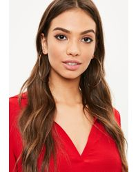 Missguided - Rose Gold Large Hoop Earrings - Lyst