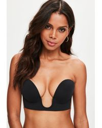 2c45add32223f Missguided - Black Secret U Plunge Stick On Strapless Bra - Lyst