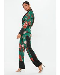 Missguided - Green Satin Side Stripe Floral Wide Leg Pants - Lyst