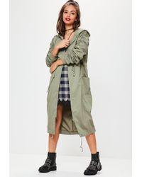 Missguided - Khaki Ruched Sleeve Longline Parka Coat - Lyst