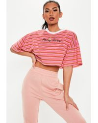 Missguided - Pink Honey Bunny Slogan Stripe Crop Top - Lyst