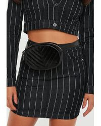 Missguided - Black Velvet Quilted Oval Fanny Pack - Lyst