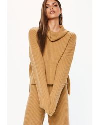 acb72f69aa Missguided Camel Chunky High Neck Step Hem Sweater in Natural - Lyst