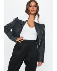 Missguided - Grey Boxy Vintage Pilot Jacket - Lyst