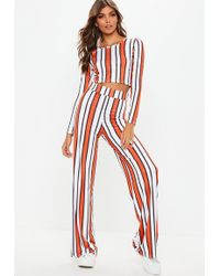 8151bb39f79 Missguided - Orange Stripe Keyhole Crop Wide Trousers Co Ord - Lyst