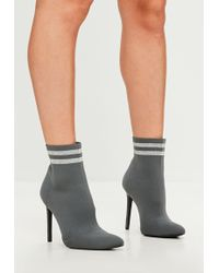 Missguided - Carli Bybel X Gray Knitted Stripe Pointed Ankle Boots - Lyst