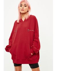 Missguided | Red Zip Detail Oversized Hoody | Lyst