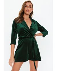 b73320c38a0 Lyst - Missguided Crepe Strappy Back Detail Playsuit Green in Green
