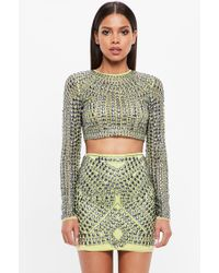 Missguided - Peace + Love Lime Embellished Stud Mesh Mini Skirt - Lyst