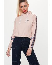 Missguided - Umbro X Pink Cropped Sweatshirt - Lyst