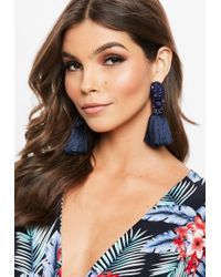 Missguided - Navy Art Deco Drop Tassel Earrings - Lyst