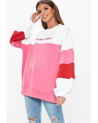 Missguided White Oversized Contrast Honey Bunny Embroidered Slogan Sweatshirt