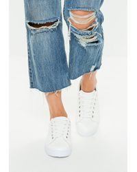 Missguided - White Solid Colour Lace Up Trainers - Lyst