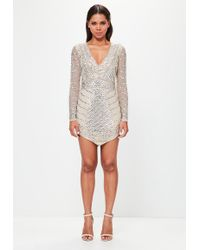 Missguided - Peace + Love Silver Embellished Triangle Mini Dress - Lyst