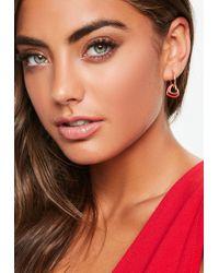 Missguided - Gold Look Red Double Heart Hoop Earrings - Lyst
