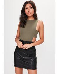 Missguided - Khaki Crepe Tab Side Bodysuit - Lyst