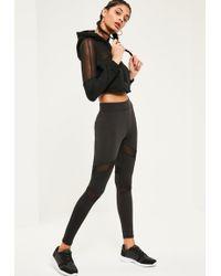 Missguided - Active Mesh Panel Gym Leggings Black - Lyst
