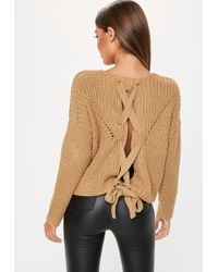 Missguided - Camel Lace Up Back Chunky Knitted Jumper - Lyst