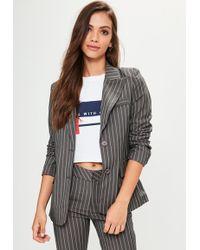 Missguided - Grey Pinstripe Blazer - Lyst