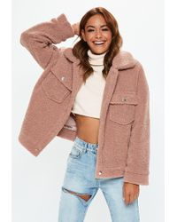 Missguided - Petite Rose Oversized Borg Trcuker Teddy Jacket - Lyst