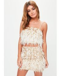 Missguided - Gold Feather Crop Bralette - Lyst