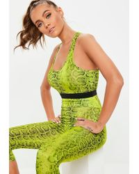 8127c19d28 Missguided - Active Lime Green Snake Print Racer Back Sports Bra - Lyst