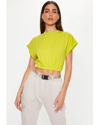 Missguided - Lime Gathered Waist Crop Top - Lyst