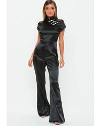 Missguided - Black Satin Flared Jumpsuit - Lyst