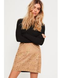 Missguided | Faux Suede Stud Detail Mini Skirt Tan | Lyst