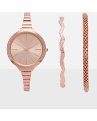Missguided - Rose Gold Watch & Bracelet Set - Lyst