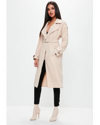 Missguided - Nude Bonded Crepe Trench Coat - Lyst