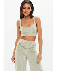Missguided - Green Ribbed Bralette - Lyst