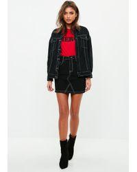 Missguided - Black Contrast Stitch Denim Skirt - Lyst